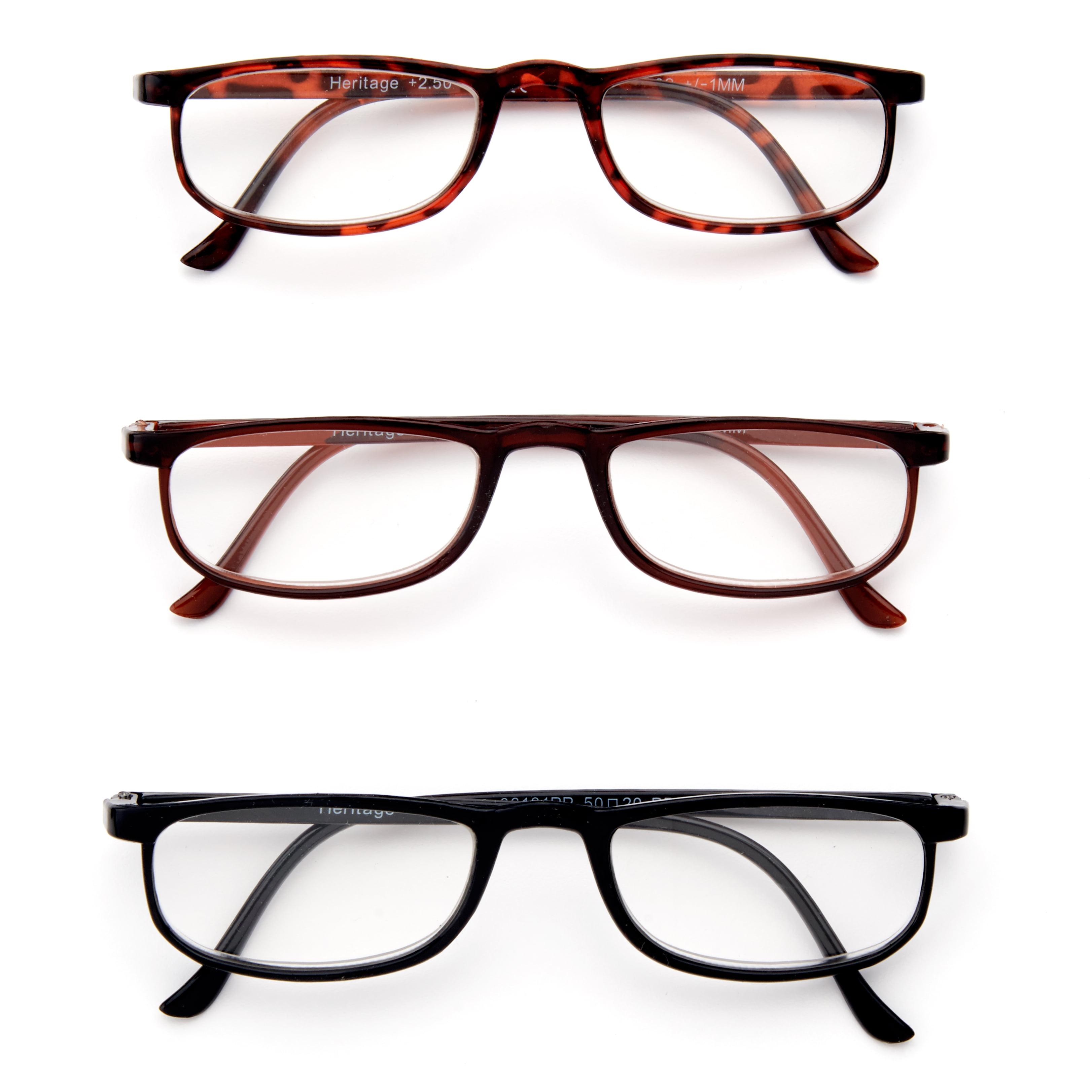 40b781b7b195 Equate Heritage Reading Glasses, +2.50, Assorted Colors, 3 Pack -  Walmart.com