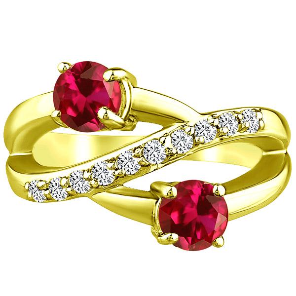Round Twist Ring cr Ruby & Diamond Band Wedding .14k Yellow Gold 2.02 tcw