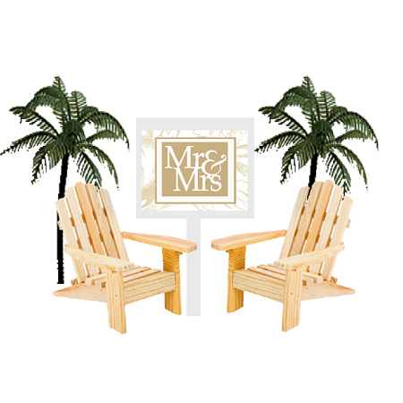 Mr & Mrs Sign with Unfinished Mini Beach Adirondack Wood Chairs Cake Decoration Toppers with Palm Trees](Beach Decoration)