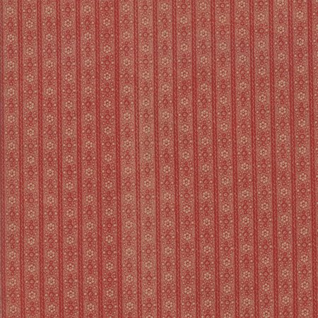Moda Jo Morton Hickory Road Brick Red Floral Stripe