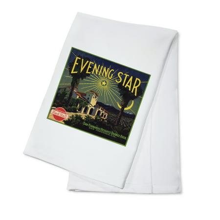 Evening Sun 16 Piece - Evening Star Brand - San Fernando, California - Citrus Crate Label (100% Cotton Kitchen Towel)