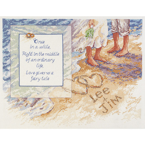 "Beach Romance Counted Cross Stitch Kit-14""X11"" 14 Count"