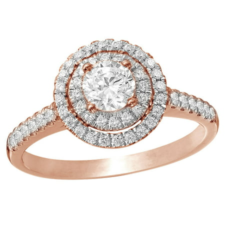 White Natural Diamond Double Frame Engagement Ring in 14K Rose Gold (0.75 cttw)