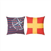 Manual Woodworkers and Weavers SQNUF2 Nautical Flags 2 Climaweave Pillow Digitally Printed 20 X 20 in.