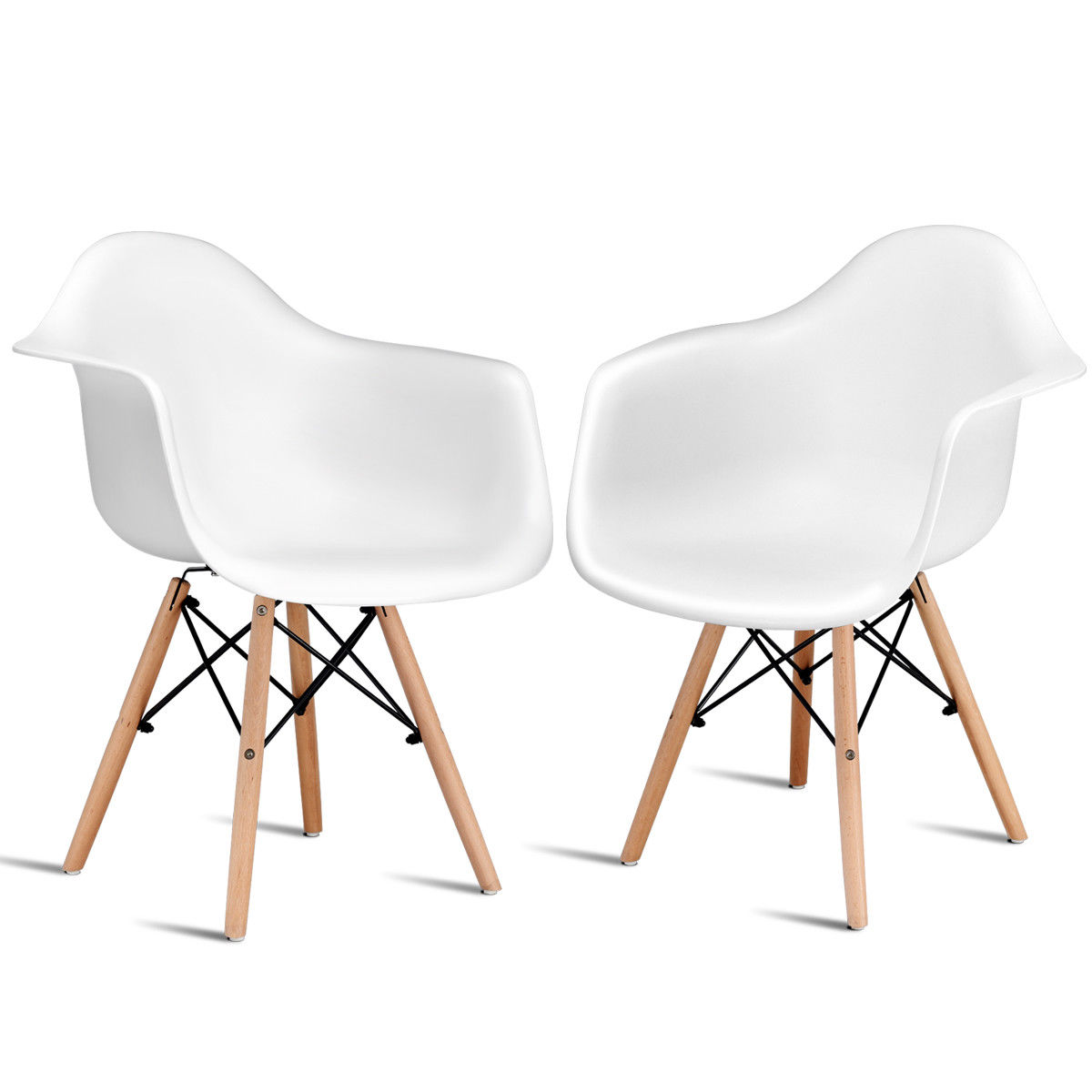 Costway Set of 2 Mid Century Modern Molded Style Dining Armchair Wood Legs by Costway
