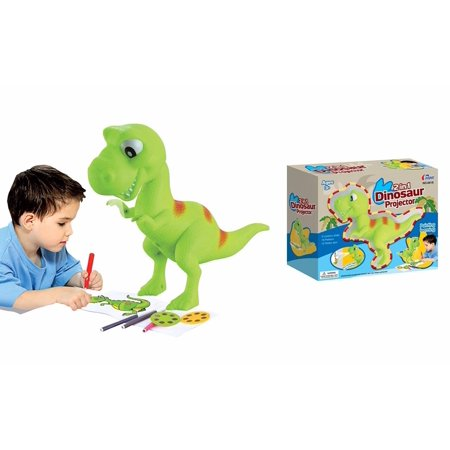Lightahead? 2 in 1 Dinosaur Projector Set Drawing and Learning Projector Painting Toy for Kids with 6 Picture Discs each with 3 Lantern Slides & 12 Water Color Pens