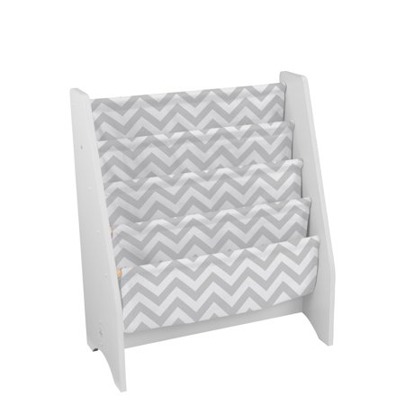 - KidKraft Wooden Sling Shelf Bookcase - White and Gray Chevron Pattern - Canvas Fabric, Kids Bookshelf, Young Reader Support