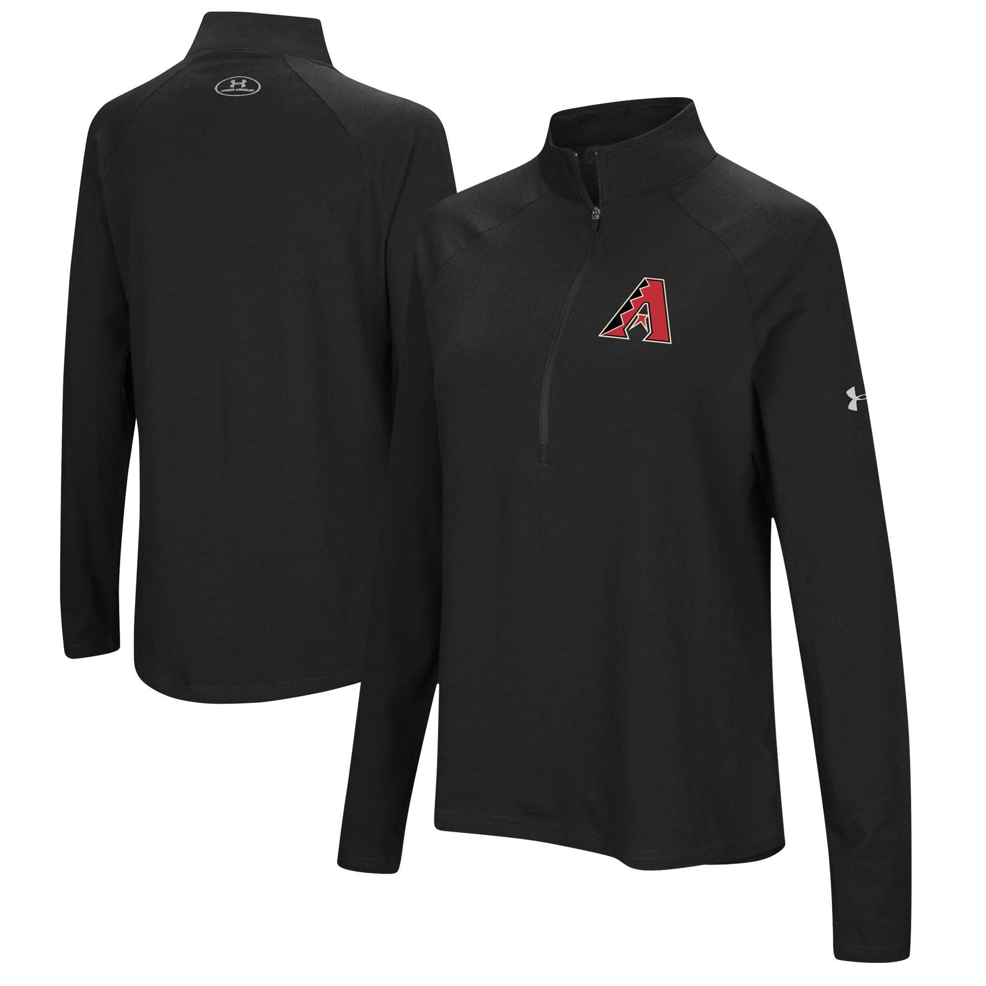 Arizona Diamondbacks Under Armour Women's Passion Performance Tri-Blend Raglan Half-Zip Pullover Jacket - Black