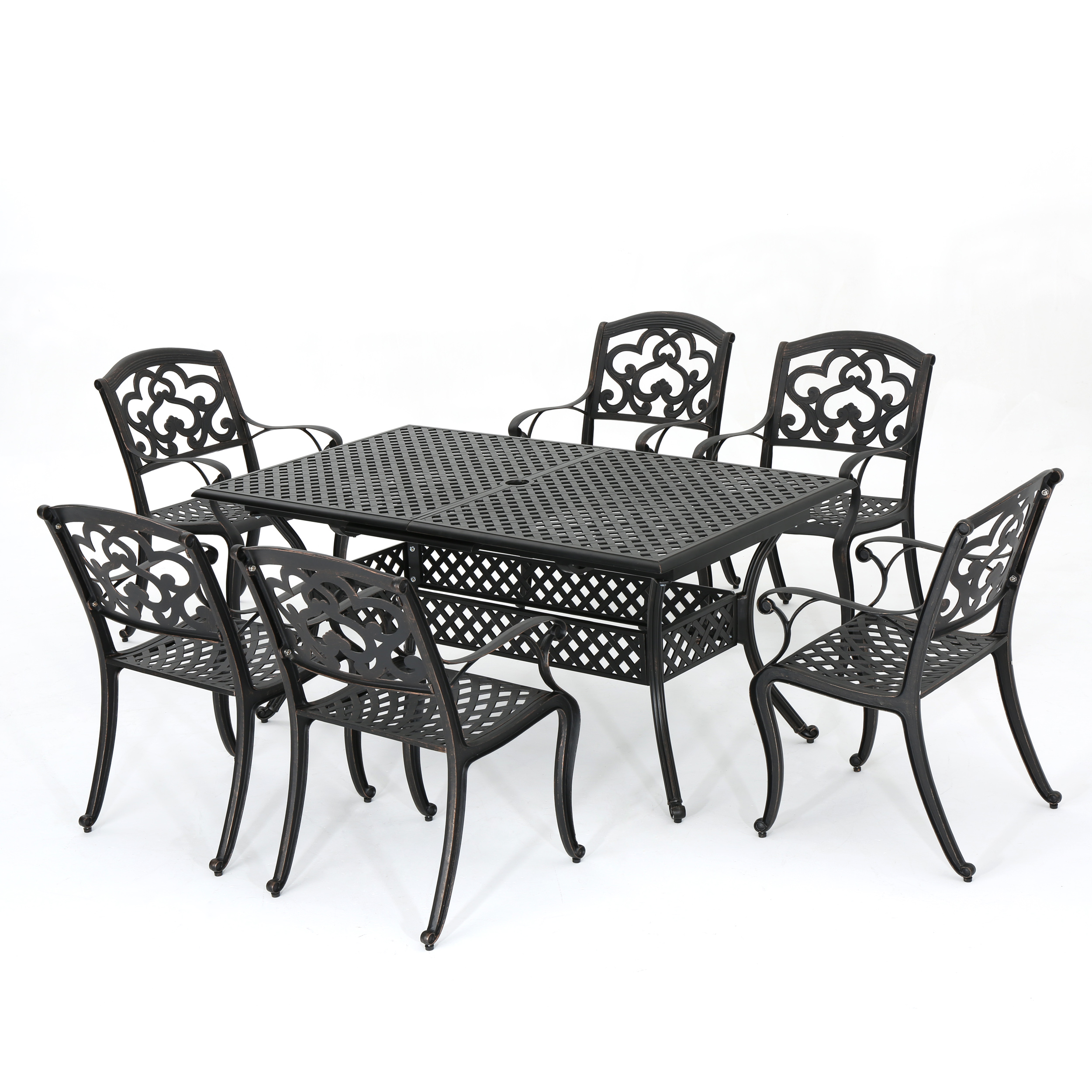 Ariel Outdoor 7 Piece Cast Aluminum Dining Set with Leaf, Shiny Copper Finish
