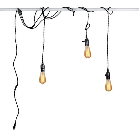 3 Light Vintage Pendant Light Kit Plug in Hanging Lighting Fixture ...