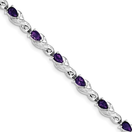 925 Sterling Silver Rhodium plated Amethyst Bracelet