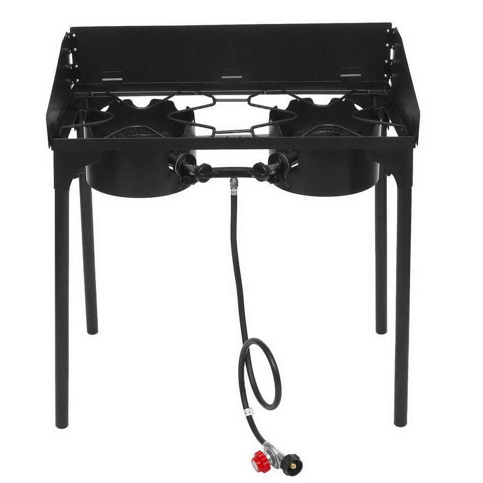 2-Burner Outdoor Portable Camping Stoves And Grills with Adjustable Detachable Legs Aphe