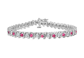 Pink Sapphire and Diamond S Tennis Bracelet 14K White Gold 2.00 CT TGW by Love Bright