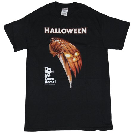 Halloween Movie Mens T-Shirt  - The Night He Came Home Stabbing Image - Kc Parent Halloween
