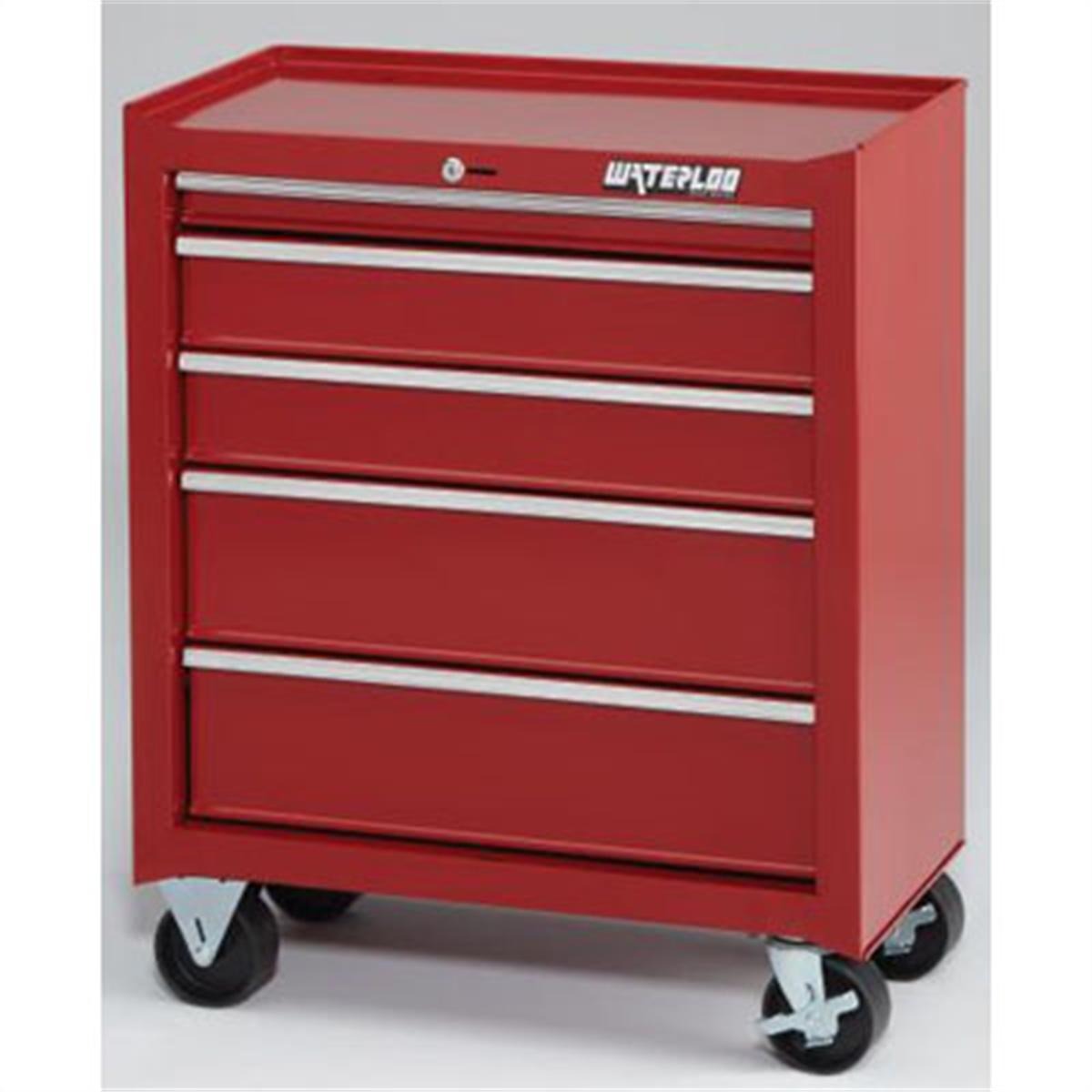 Waterloo Shop Series 26 in. Red 5 Drawer Cabinet by Waterloo