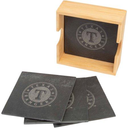 Texas Rangers 4-Pack Slate Square Coaster Set - No -