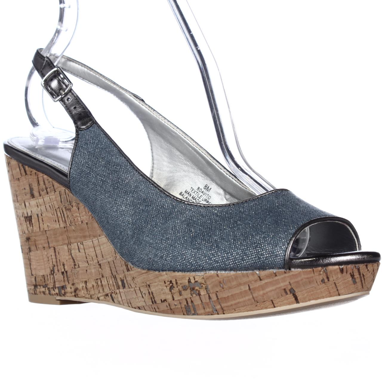 Womens Bandolino Avito Wedge Slingback Sandals - Denim Blue/Pewter