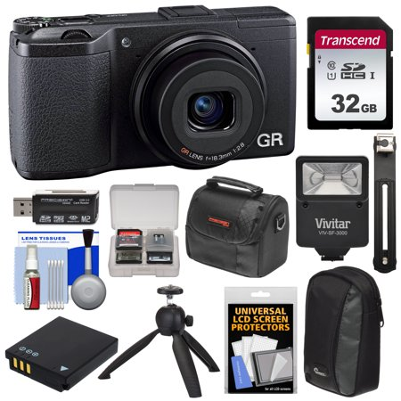 Ricoh GR II Wi-Fi Digital Camera with 32GB Card + Battery + Flash + Tripod  + 2 Cases + Kit