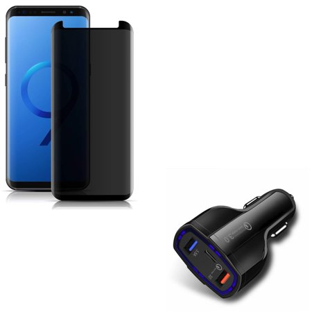 Screen Protector Car Charger - Compatible With Samsung Galaxy S9 - Anti-Peep Tempered Glass Privacy Screen Protector 3D w 48W 3-Port Adaptive Fast Dual USB Car DC Charger w Type-C Port