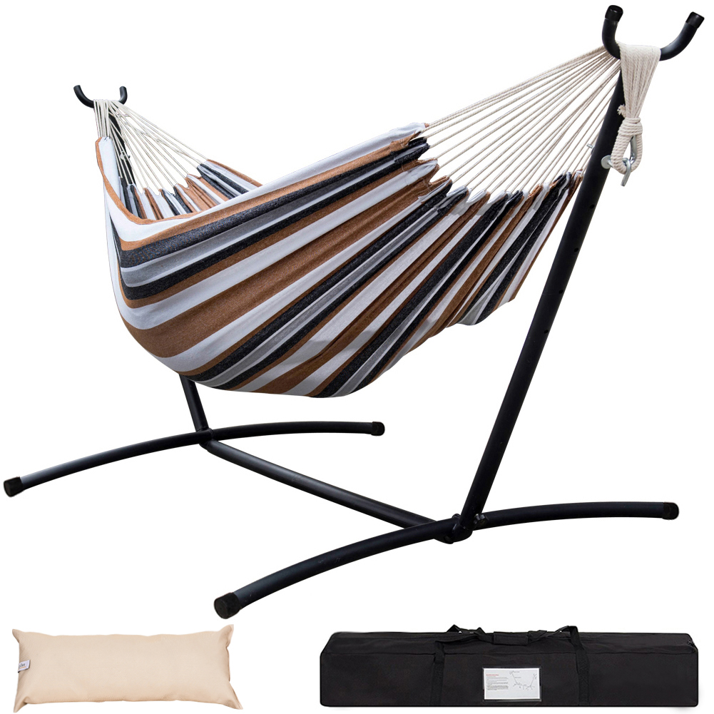 Lazy Daze Hammocks Double Hammock with Space Saving Steel Stand Includes Portable Carrying Case and Head Pillow, 450 Pounds Capacity (Desert Stripe)
