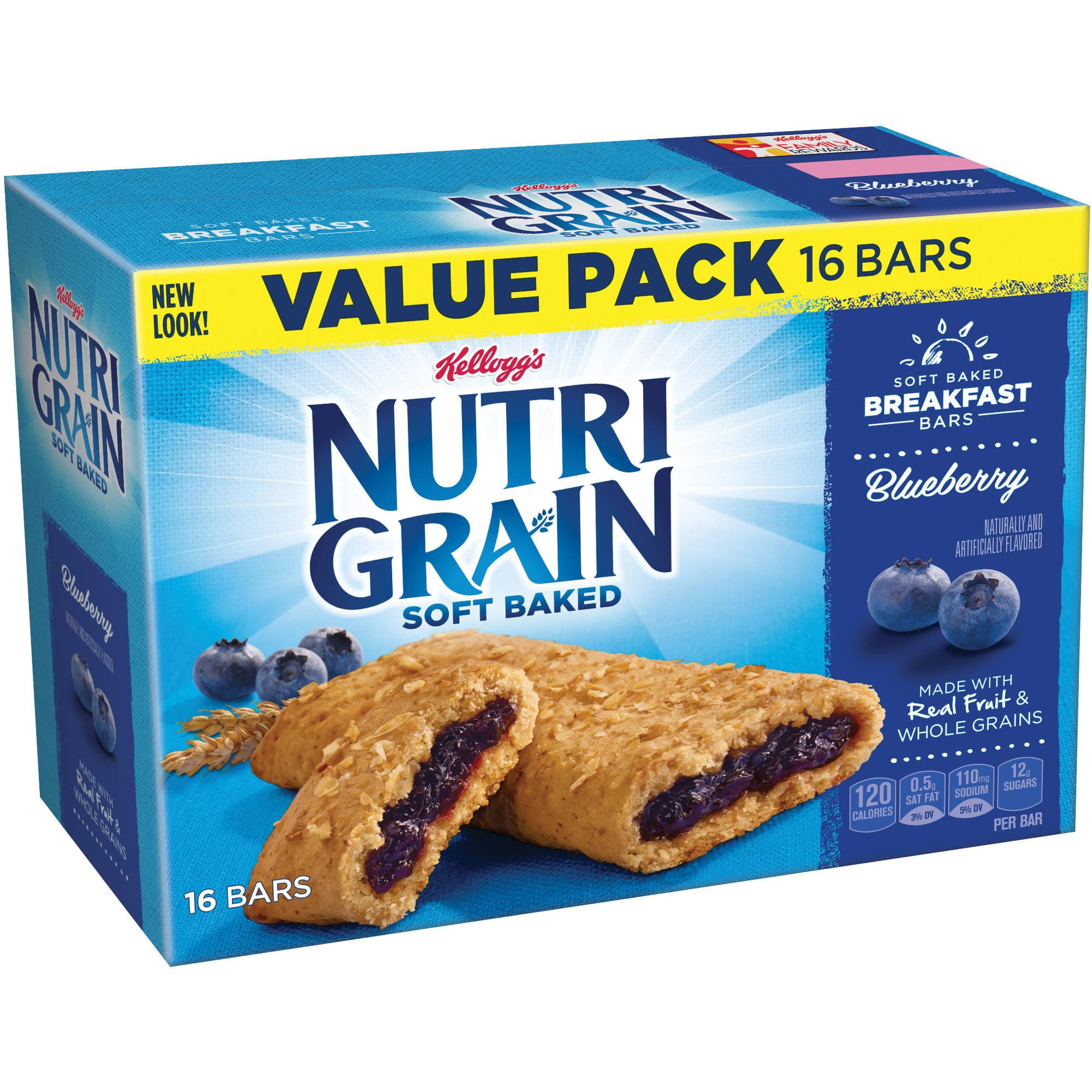 Kellogg's Nutri-Grain Soft Baked Blueberry Breakfast Bars, 1.3 oz, 16 count