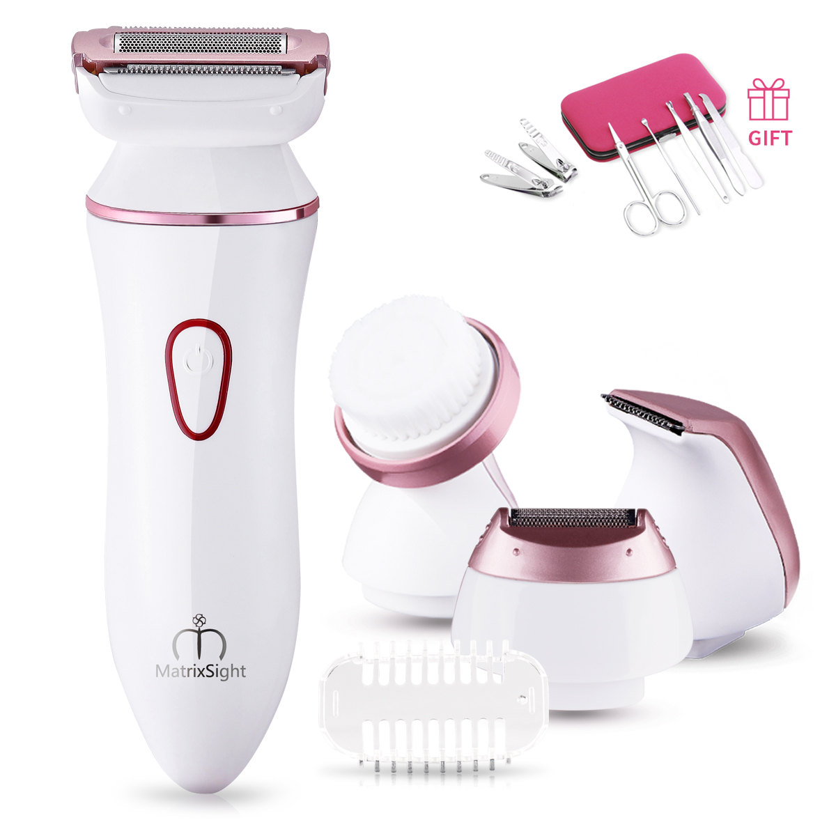 Ladies Electric Shaver Rechargeable Electric Razor for Women Bikini Trimmer Hair Removal for legs and Underarms, IPX7 Waterproof, Portable Cordless Design, 4 Types of Heads (Upgraded Version)