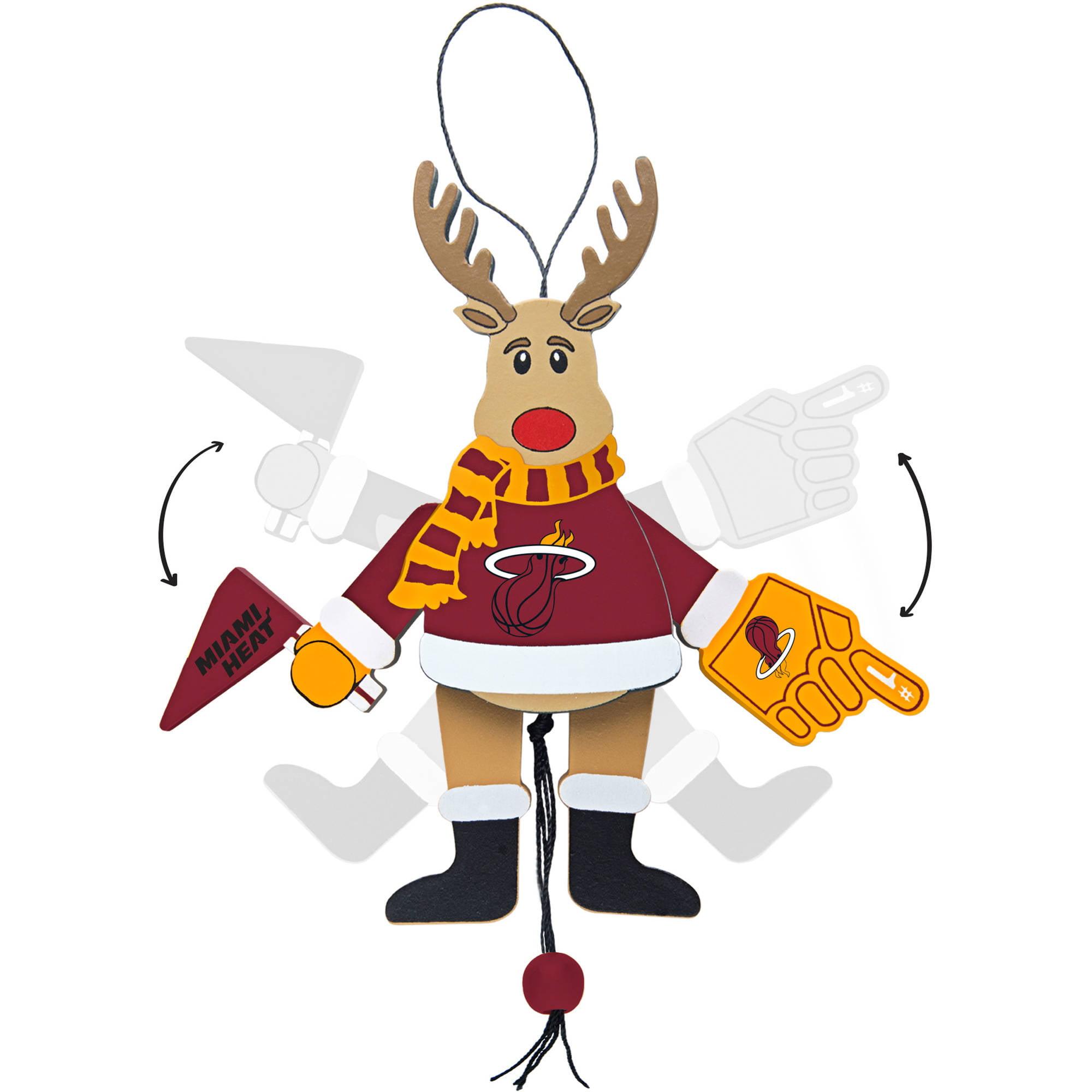 Topperscot by Boelter Brands NBA Wooden Cheering Reindeer Ornament, Miami Heat