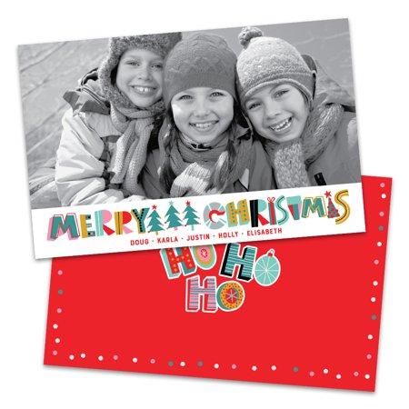 Colorblock Letters Personalized Photo Christmas (Custom Back Card)