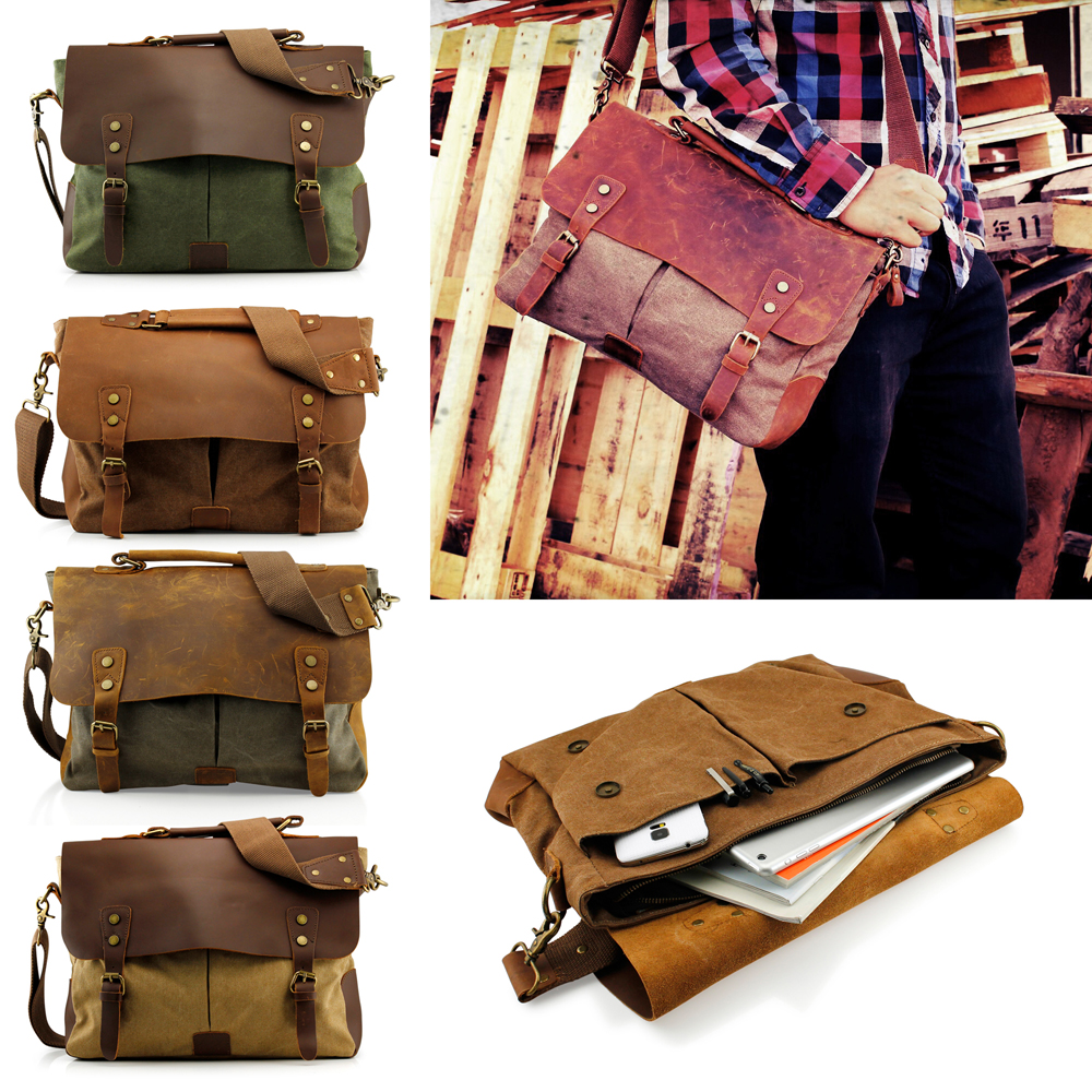 Men's Vintage Canvas Leather Satchel School Military Messenger Shoulder Bag Travel Bag - Khaki