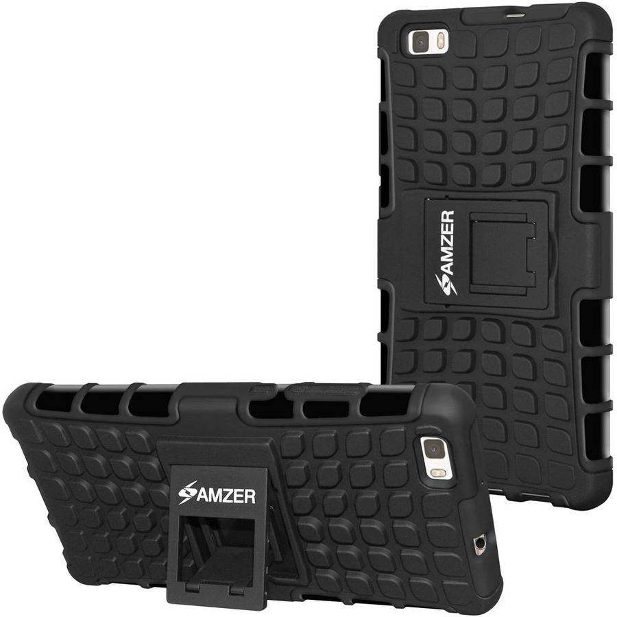 Amzer Impact-Resistant Hybrid Warrior Case for Huawei P8 Lite, Black