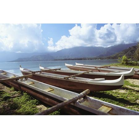 Hawaii Oahu Kaneohe Bay Secret Island Line Of Outrigger Canoes On Beach Canvas Art   Joss Descoteaux  Design Pics  17 X 11