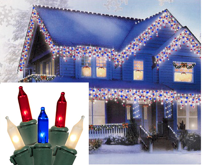 Pack of 600 Red, White & Blue Commercial Icicle Christmas Lights ...