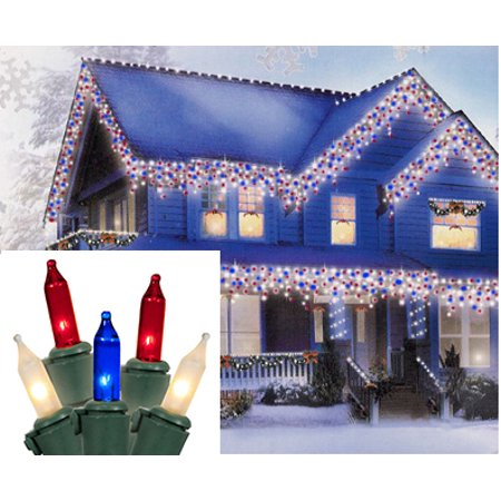 pack of 600 red white blue commercial icicle christmas lights green wire