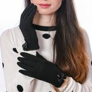 DEBRA WEITZNER Driving Gloves Touchscreen Winter Gloves for Women Cotton Black