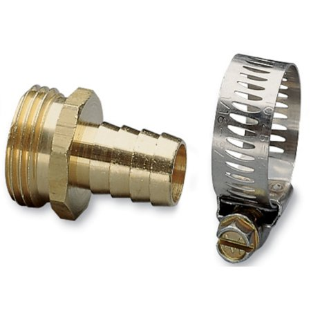 "Nelson 50450 5/8"" Brass & Worm Gear Clamp Male Hose Repair"