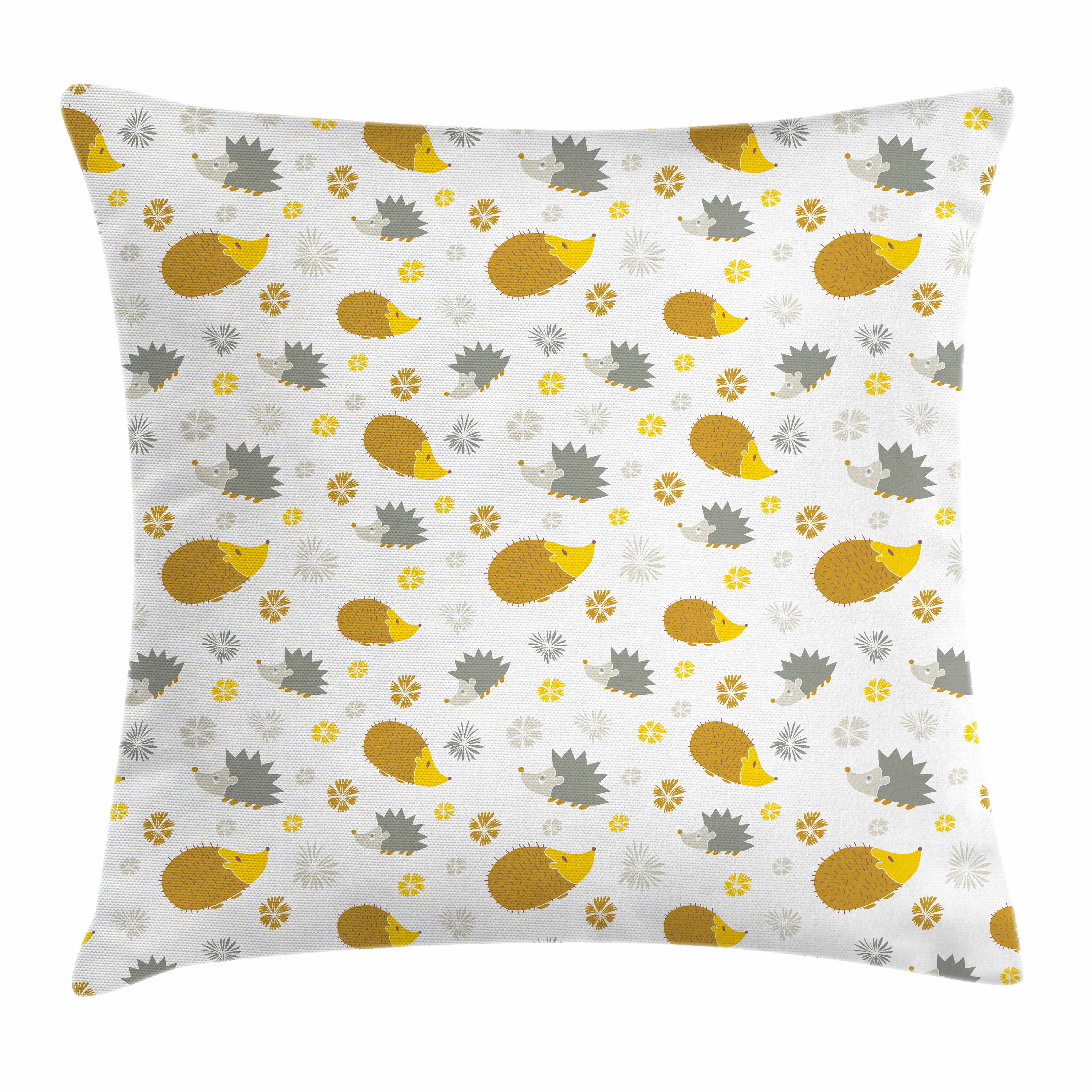 Hedgehog Throw Pillow Cushion Cover, Autumn in Woods Theme Different Wildlife Mascots with Little Flowers, Decorative Square Accent Pillow Case, 16 X 16 Inches, Goldenrod Grey Yellow, by Ambesonne
