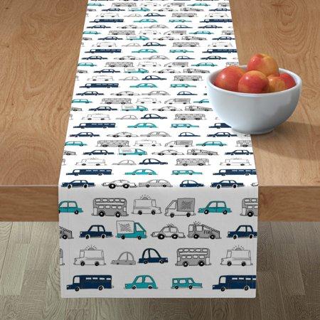 Image of Table Runner Car Nursery Kid Room Cars Boys Transportation Buses Cotton Sateen