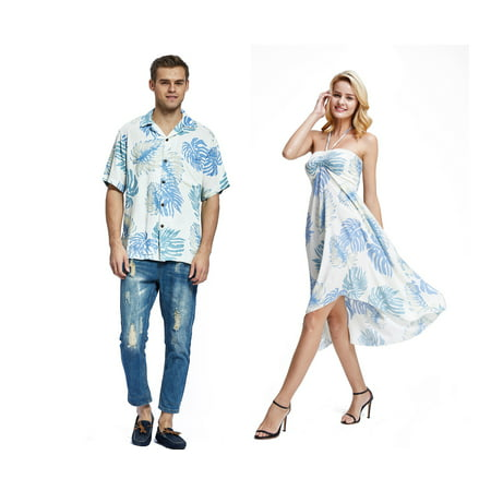 Couple Matching Hawaiian Luau Party Outfit Set Shirt Dress in White Palm Leaves Men M Women - Homecoming Couples Outfits