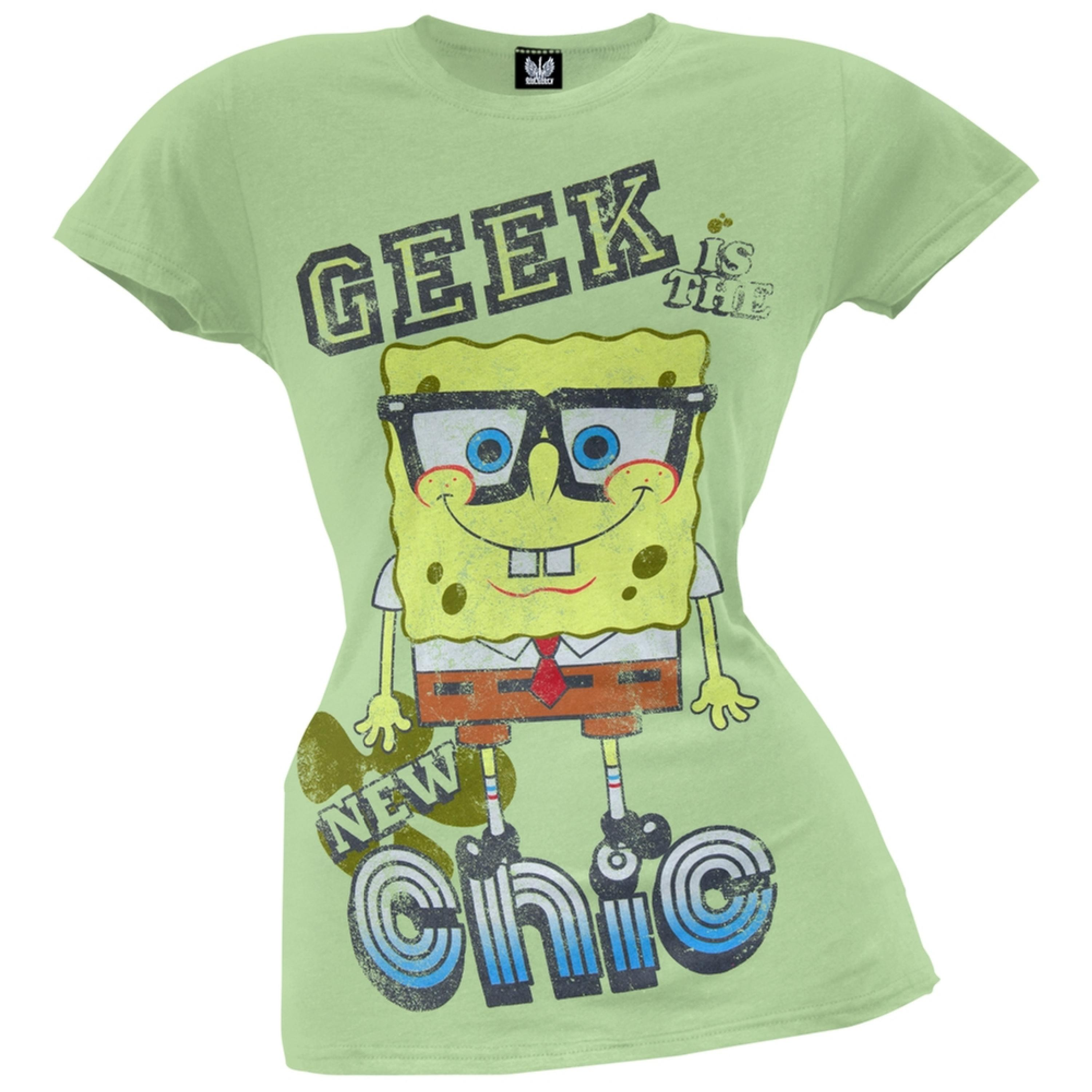Spongebob Squarepants - Geek Is The New Chic Juniors T-Shirt