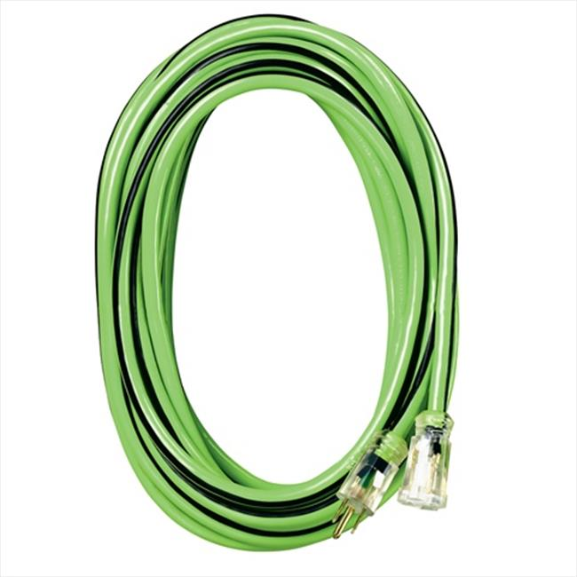 Voltec 05-00116 100 ft. Extension Cord With Lighted Ends, 3-Conductor - Green & Black, Case of 2
