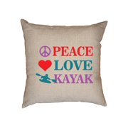 Colorful Trendy Peace Love Kayak Kayaking Love Decorative Linen Throw Cushion Pillow Case with Insert