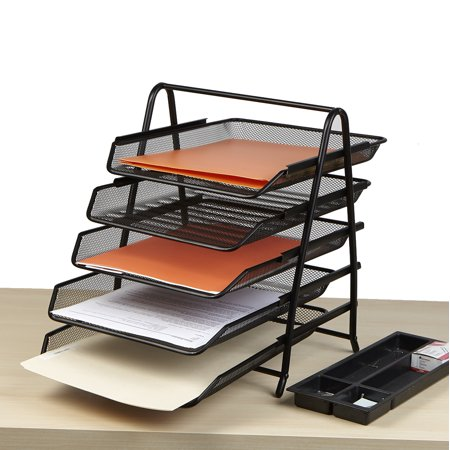 Mind Reader Desk Organizer with 5 Sliding Trays for Letters, Documents, Mail, Files, Paper, - Office Trays