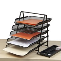Mind Reader Desk Organizer with 5 Sliding Trays for Letters, Documents, Mail, Files, Paper, Black