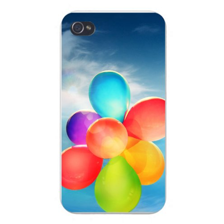 Apple Iphone Custom Case 4 4s Plastic Snap on - Balloons Colorful Floating in - Custom Balloon