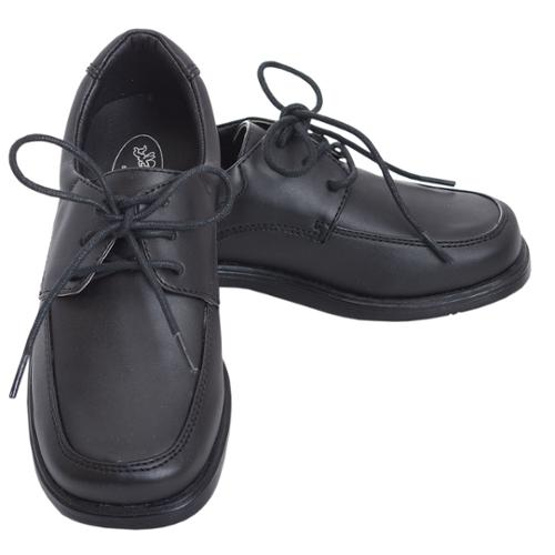 Angel Black Lace Up Oxford Rubber Sole Christening Shoe Boy 11-3