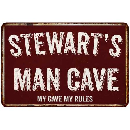 STEWART'S Man Cave Red Grunge Personalized Sign 8 x 12 High Gloss Metal Sign 208120003443