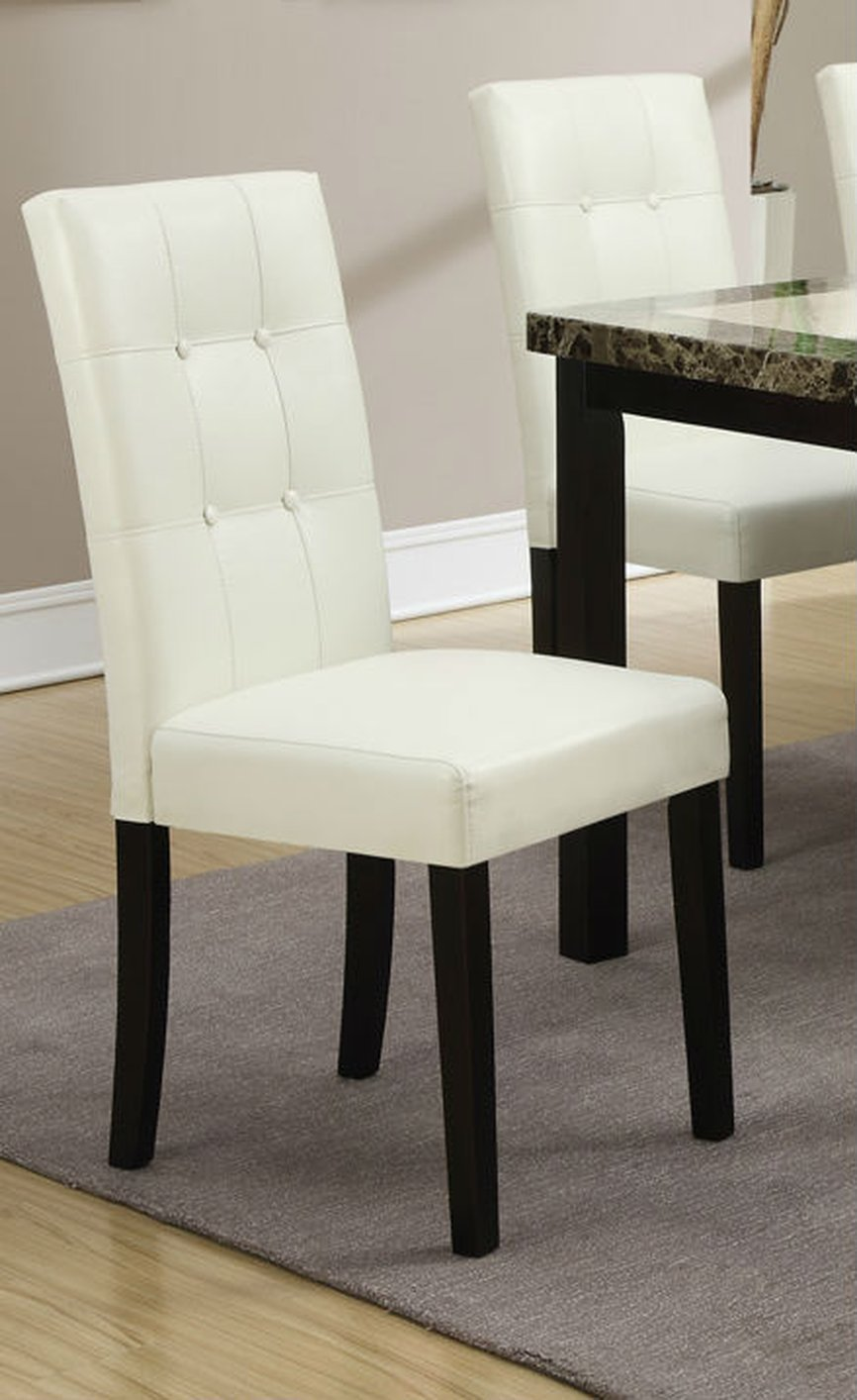 Set Of 2 White Faux Leather Dining Chair With Wood Frame And Button Tufting  Back Support