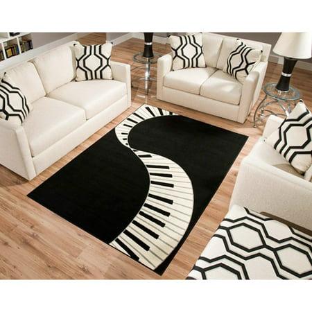 Terra Piano Rectangle Area Rug Black/White