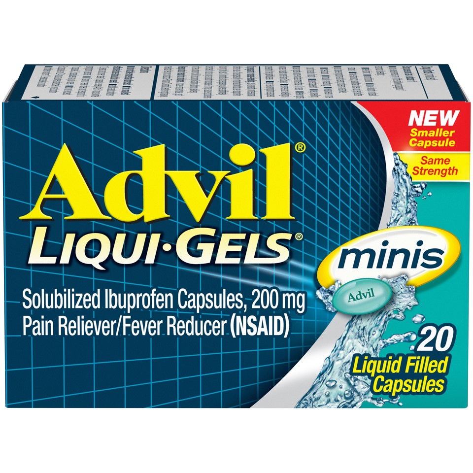 Advil Liqui-Gels minis (20 Count) Pain Reliever / Fever Reducer Liquid Filled Capsule, 200mg Ibuprofen, Easy to Swallow, Temporary Pain Relief