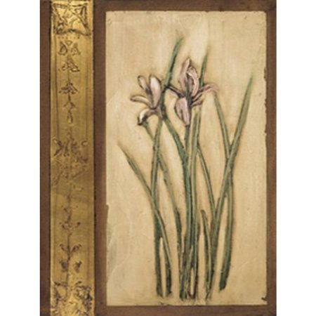 Iris and Foil by Janice Mitchell 24x32 Art Print Poster Brown Tan FRAMED Floral Design